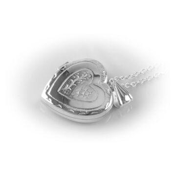 Ezüst ékszer   - Sterling ezüst nyitható mintás szív medál, lánccal