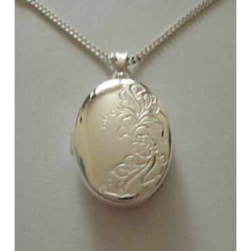 Ezüst ékszer    - Sterling ezüst ovális nyitható medál lánccal