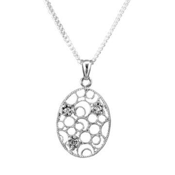 Ezüst ékszer - Sterling ezüst filigrán medál lánccal
