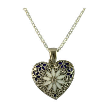 Ezüst ékszer  - Sterling ezüst filigrán szív medál lánccal