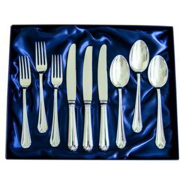 Sterling ezüst evőeszköz, modern empire stílusú, 3 személyes, 9 darabos