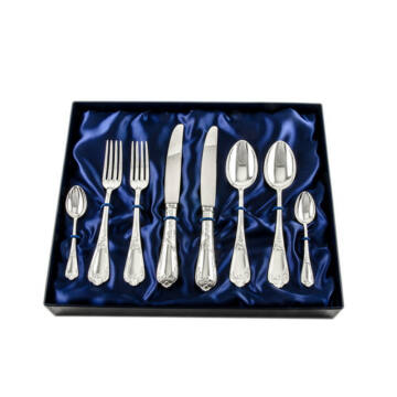 Sterling ezüst evőeszköz, XV. Lajos stílusú, 2 személyes, 8 darabos