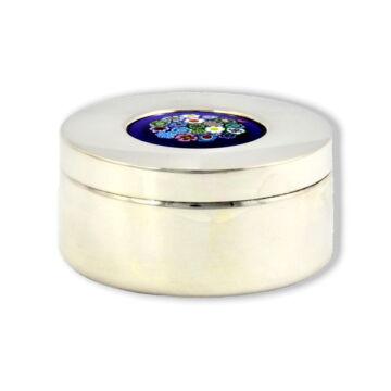 Ezüst tárgy - Sterling ezüst ékszertartó muránói üveggel (5,5cm)