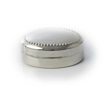 Ezüst tárgy - Sterling ezüst gyöngy mintás ovális ékszertartó