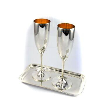 Ezüst dísztárgy - Sterling ezüst pezsgőspohár tálcával