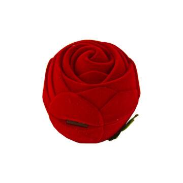 Rózsa formájú bársonyos díszdoboz, nagy